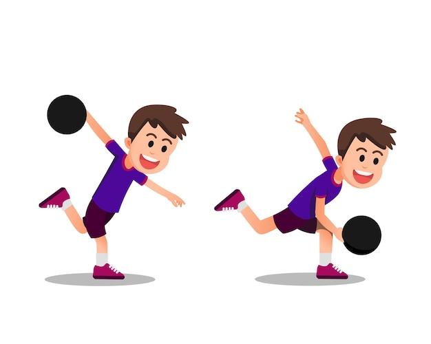 Chłopiec w kilku pozach podczas gry w kręgle