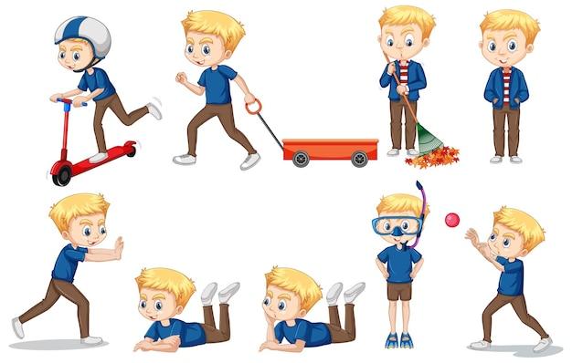 Chłopiec w niebieskiej koszuli robi różne akcje