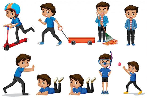 Chłopiec w niebieskiej koszuli robi różne działania