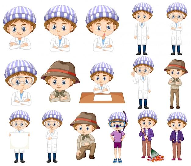 Chłopiec w pasiastym kapeluszu robi różnym czynnościom