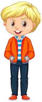Chłopiec w pomarańczowej kurtce na bielu