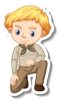 Chłopiec w stroju safari naklejka z postacią z kreskówek