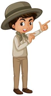 Chłopiec w stroju safari