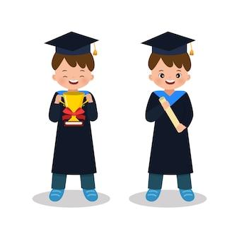 Chłopiec w stroju ukończenia gospodarstwa złote trofeum i certyfikat. uroczystości ukończenia szkoły. mieszkanie w stylu na białym tle
