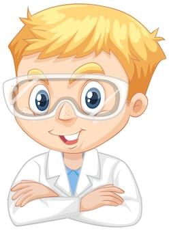 Chłopiec w sukni naukowej na na białym tle