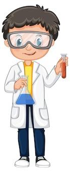 Chłopiec w sukni naukowej trzymający zlewki