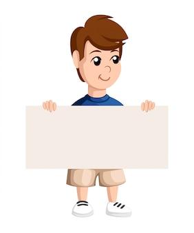 Chłopiec w szkole posiada uśmiechy. szablon z miejscem na twój tekst. ilustracja strona internetowa i aplikacja mobilna.