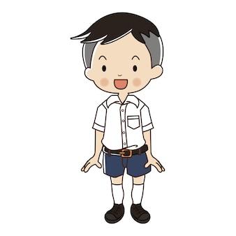 Chłopiec w tajskim mundurze studenckim.