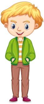 Chłopiec w zielonej kurtce na białym tle