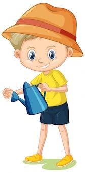 Chłopiec w żółtej koszula z podlewanie puszką na bielu