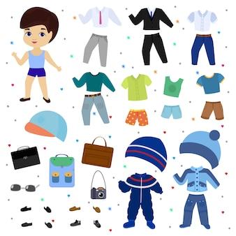 Chłopiec wektor lalka papier ubrać odzież moda spodnie lub buty ilustracja chłopięcy zestaw męskich ubrań do cięcia czapkę lub t-shirt na białym tle.