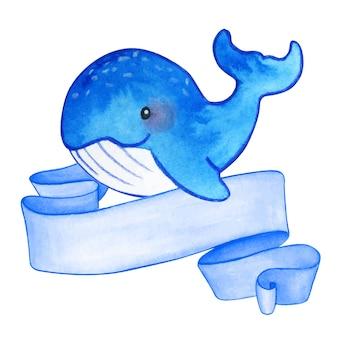 Chłopiec wieloryb akwarela