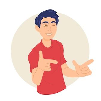 Chłopiec wskazujący palcami i mrugający