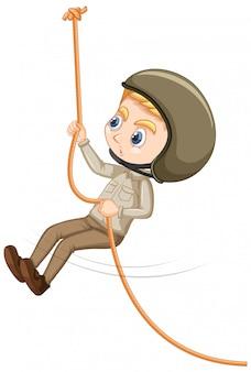 Chłopiec wspinaczka liny