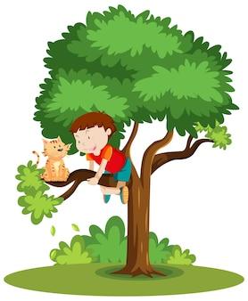 Chłopiec wspinający się, aby pomóc kotu, który utknął na drzewie kreskówka na białym tle