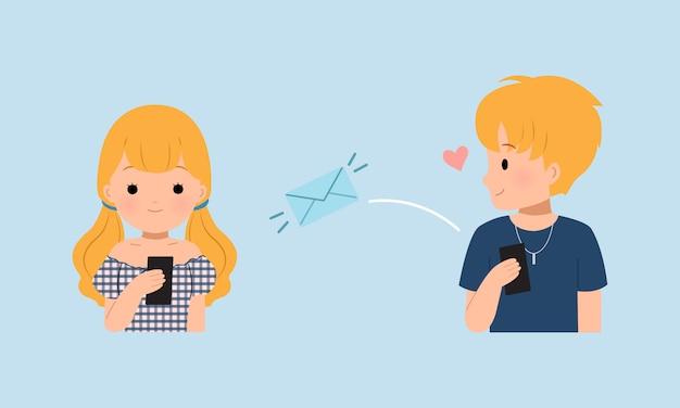 Chłopiec wysyłający sms-a do dziewczyny. para relacji na odległość. korzystanie z aplikacji do czatu
