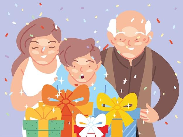 Chłopiec z bajkami matki i dziadka otwierającymi prezenty, wszystkiego najlepszego z okazji urodzin dekoracji strona świąteczna i niespodzianka