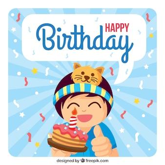 Chłopiec z ciasto happy birthday card