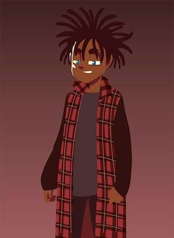 Chłopiec z długimi dredami modne ubrania, ilustracja młodej kultury