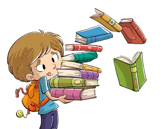 Chłopiec z dużą ilością książek