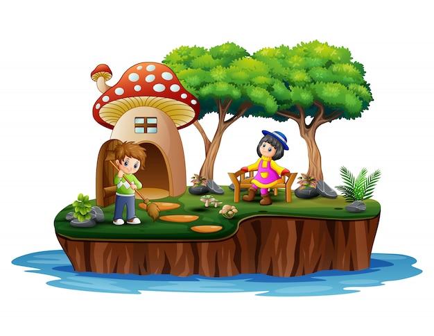 Chłopiec z dziewczyną w scenie wyspy