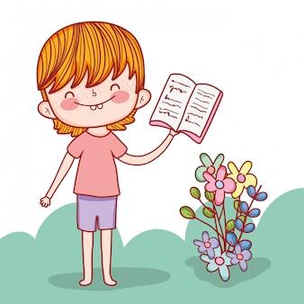 Chłopiec z edukacją rezerwuje i kwitnie rośliny