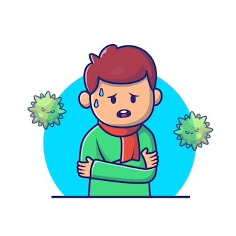 Chłopiec z gorączki i grypy ikony ilustracją. postaci z kreskówek corona maskotka. osoby ikony pojęcia biel odizolowywający