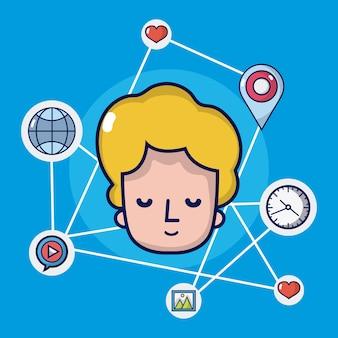 Chłopiec z ikonami sieci społecznościowych