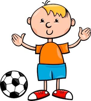 Chłopiec z ilustracja kreskówka piłka