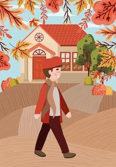 Chłopiec z jesień kostiumem w mieście