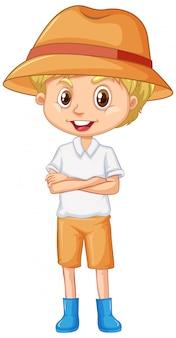 Chłopiec z kapeluszem i butami na bielu