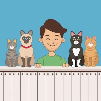 Chłopiec z kreskówki zwierząt domowych