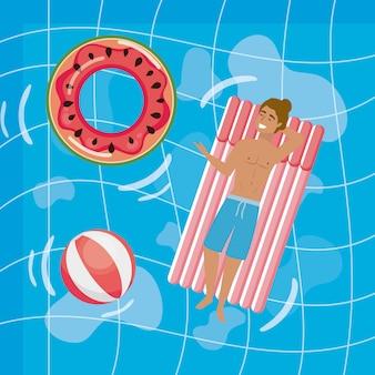 Chłopiec z letnimi strojami kąpielowymi