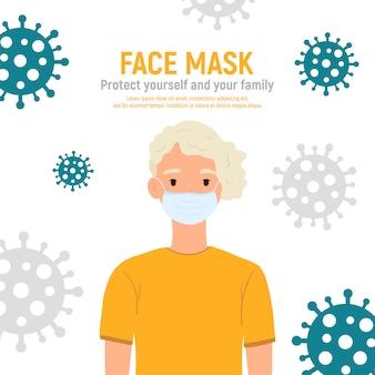 Chłopiec z maską medyczną na twarzy, aby chronić go przed koronawirusem covid-19, 2019-ncov na białym tle. koncepcja ochrony przed wirusami dla dzieci. bądź bezpieczny. ilustracja