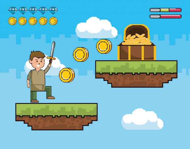 Chłopiec z mieczem i monetami wewnątrz kasetonu z kratami życia
