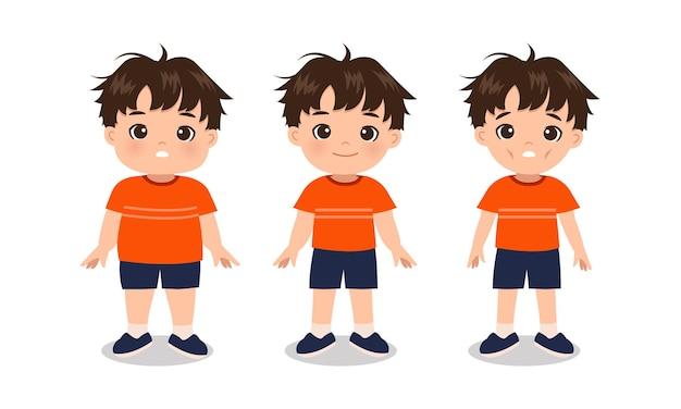 Chłopiec z nadwagą, normalny i z niedowagą. przed przemianą ciała. płaski projekt kreskówki.