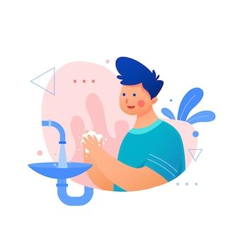 Chłopiec z niebieskimi włosami myje ręce