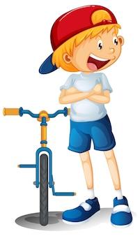 Chłopiec z postacią z kreskówki roweru na białym tle