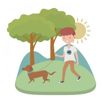 Chłopiec z psią kreskówką