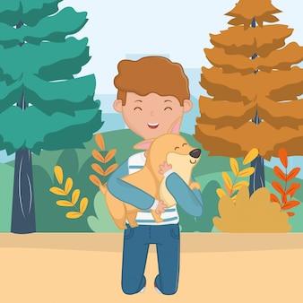 Chłopiec z psim kreskówka projektem