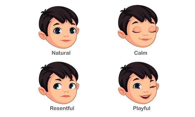 Chłopiec z różnymi wyrazami twarzy