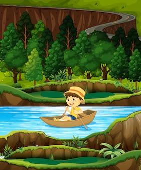 Chłopiec z rzędu łódź na strumieniu
