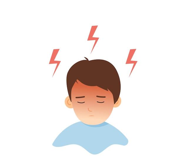 Chłopiec z silnym bólem głowy i migreną