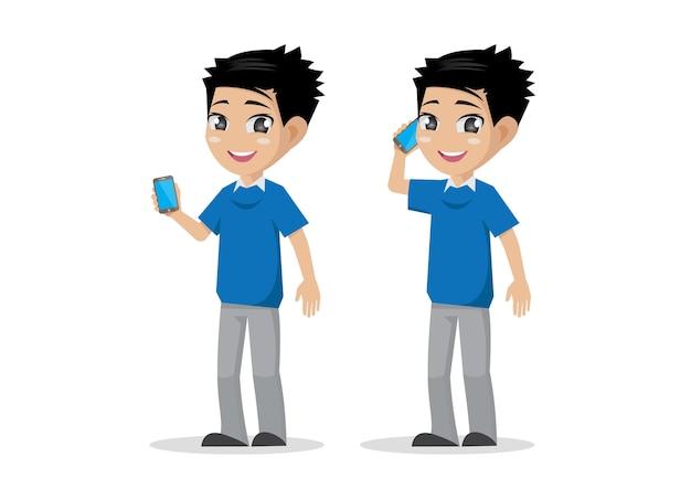 Chłopiec z smartphone.