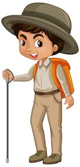 Chłopiec z sprzętem turystycznym