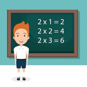 Chłopiec z tablicy klasie znak
