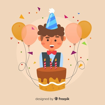 Chłopiec z urodzinowym tortowym tłem