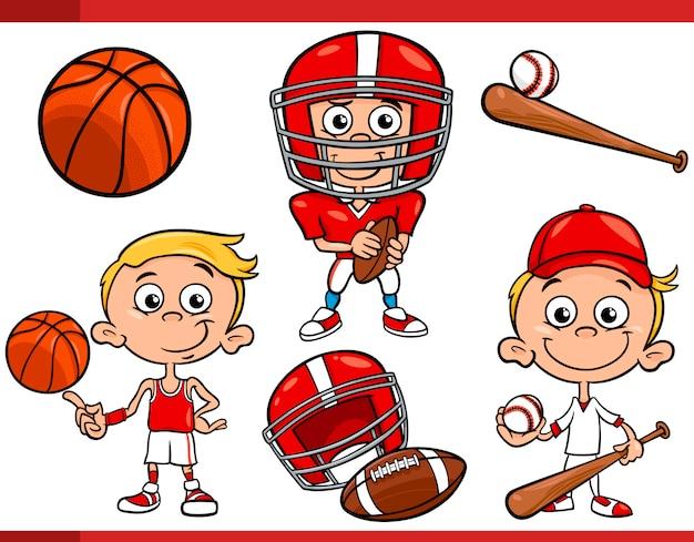 Chłopiec z zestawem kreskówka sprzęt sportowy