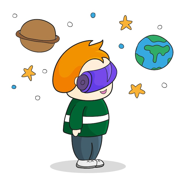 Chłopiec z zestawem słuchawkowym vr w kosmosie. rzeczywistość wirtualna dla edukacji i gier. ilustracja kreskówka wektor.