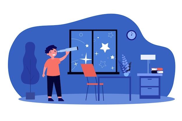 Chłopiec za pomocą teleskopu i oglądając gwiazdy